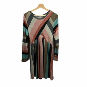 EGS by Eloges striped long sleeve dress- size L
